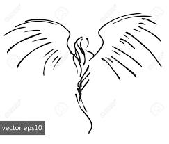 Angel Sketch Hand Drawn Pinstriping Angel Sketch Simple Vector Illustration