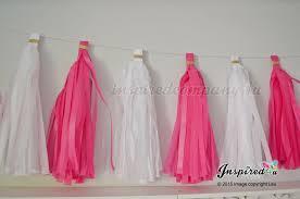 diy tissue paper tassel garland white hot pink wedding birthday party
