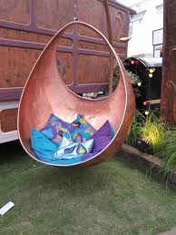copper garden art. Copper Hanging Chairs Garden Art