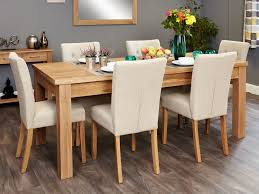 image baumhaus mobel. Baumhaus Mobel Oak Extending Dining Set With 6 Flare Back Cream Upholstered Chairs Image U