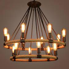 vintage large black metal rope led chandelier suspension pendant lights fixture