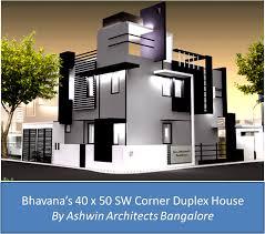 Japanese Duplex Home Design  Duplex House PlansBhavana    s x SW Corner Duplex House