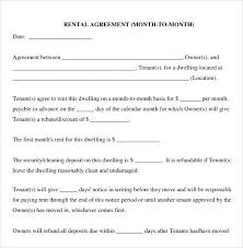 Room For Rent Contract Rental Agreement Template Month To Month Month Rental Agreement