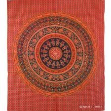 red elephant fl indian mandala tapestry wall hanging bed cover
