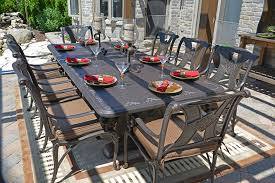 amalia 8 person luxury cast aluminum patio furniture dining set with stationary chairs