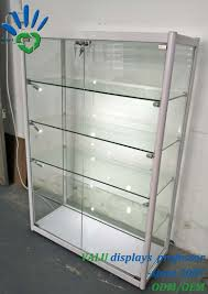 aluminium free standing glass showcase glass display cabinet with led lights