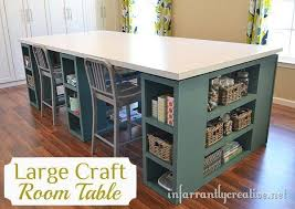 DIY: Large Craft Room Table - excellent step by step tutorial on how to  build this awesome craft table with TONS of storage space.