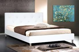 white queen size bed frame. White Queen Bed Frame Leather Modern Size With Crystal Button Contemporary Bedroom Without Headboard