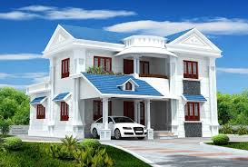 exterior house color combination. most popular exterior house color with blue roof and luxury landscape design combination