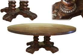 large round solid oak dining table