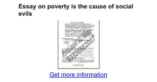 essay on poverty is the cause of social evils google docs
