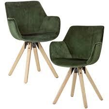 Wohnling Esszimmerstuhl 2er Set Grün Schalenstuhl Küchenstuhl Samt Stuhl Modern