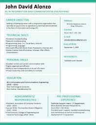 Information Technology Resume Resume Sample For Fresh Graduate Information Technology 55