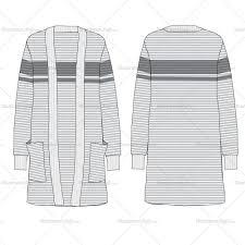 Cardigan Design Template Womens Long Ribbed Cardigan Flat Templates Flat Drawings