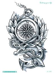 compass design anchor compass design tattoo sticker romwe