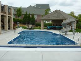 residential indoor pool with slide. FreeForm Pool With Slide \u0026 Covered Seating Area Residential Indoor O