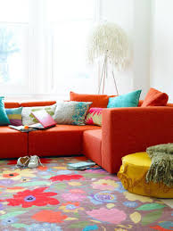 Yellow And Red Living Room Living Rooms Colorful Rug High Window Red Sofa Yellow Ottoman