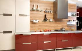 Modern Kitchen Shelving Fascinating Modern Kitchen With Red Base Cabinet Attached White