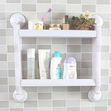 Suction Cup Bathroom Accessories Plastic Wall Mounted Suction Cup Storage Rack Traceless Vacuum