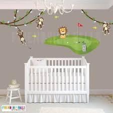golf baby room ideas. golf decal, mini wall lion, fabric nursery decor baby room ideas