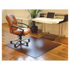 brown office chair plastic floor mats under cream leather wheeled chair facing white office table also small plant pot