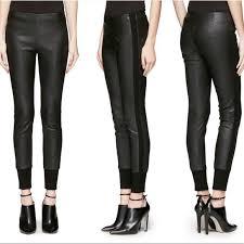 vince leather leggings black