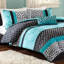 mizone chloe twin xl comforter set teal leopard photo 1