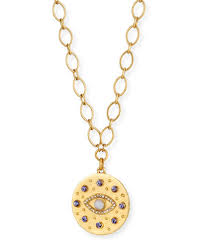 quick look sequin crystal evil eye pendant necklace