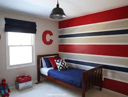 Red blue and grey horizontal stripes wall paint for boys bedroom |  Decolover.net