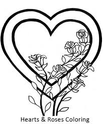 Small Picture Awesome Picture of Hearts and Roses Coloring Page Color Luna