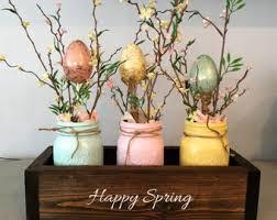 Easter table decor, mason jar decor, spring centerpiece, mantle decor,  planter box