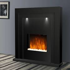 electric fire fireplace free standing black flame living room heater led lights