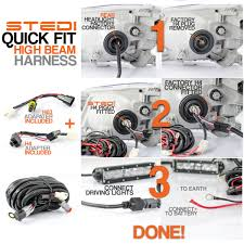 2 output plug and play quick fit to high beam wiring harness Wiring Driving Lights To High Beam 2 output dt quick fit high beam driving light wiring kit plug & play by stedi wiring driving lights to high beam