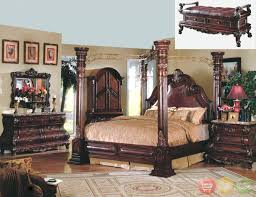 bedroom sets size canopy furniture  elegant traditional canopy bed w leather bedroom set w marble tops fr