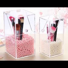brush holder beads. crystal clear acrylic makeup brush holder brushes storage box with pearl beads a