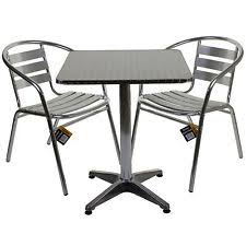 outdoor cafe table and chairs. Aluminium Lightweight Chrome Bistro Sets Square Table Chair Patio Garden Outdoor Cafe And Chairs
