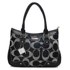 Coach Fashion Signature Medium Black Satchels BUB