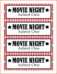 Creative White And Red Movie Night Admit One Ticket Template With