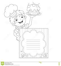 pages menu template coloring page outline of cartoon boy chef with cake menu stock