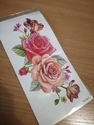 женская временная наклейка татуировка в форме розы купить в интернет магазине