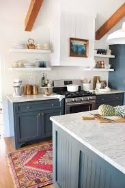 10 Stunning Farmhouse Kitchens With Coloured Cabinets The Happy Housie