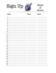 sign up sheet template printable free printable sign up sheets sign up sheets pinterest free
