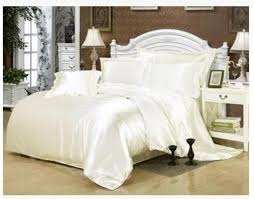 silk cream bedding set white satin super king size queen full twin quilt duvet cover bed in a bag sheet fitted bedspread brown duvet cover bedding