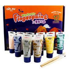 colaful 12 colors washable finger paint set with 2 paint brushs for kids