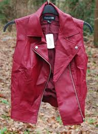 forever 21 red burdy leather vest