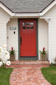 residential front doors craftsman. Craftsman Style Front Door Grass Flowers Whitw Wall Red Traditional Entry Residential Doors