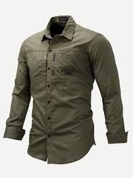 Cheap Mens Designer Shirts Guys Embroidery Detail Curved Hem Solid Shirt Cheap Mens