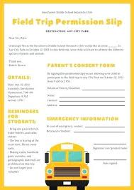 Sample Field Trip Permission Slips Yellow And White Field Trip Permission Slip Letter Use This