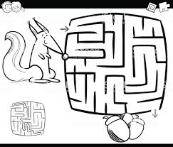 Doolhof Met Eekhoorn Kleurplaat Pagina Stockvectorkunst En Meer
