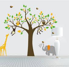 monkey elephant owl giraffe tree e wall stickers vinyl decor kids nursery au